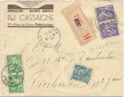 IRIS 1FR20X2+80CX2+50C MERCURE LETTRE REC FOIX ARIEGE 11.12.1944 AU TARIF - 1939-44 Iris