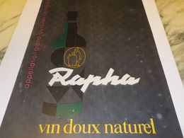 ANCIENNE PUBLICITE VIN DOUX NATUREL RAPHA 1959 - Alcools