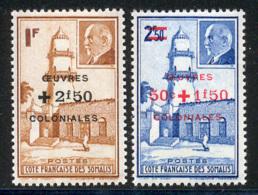 Cote Des Somalis 1944 Yvert 251 / 252 ** TB Bord De Feuille - Neufs