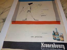 ANCIENNE  PUBLICITE BIERE EN TCHECOSLOVAQUIE KRONENBOURG 1958 - Alcools