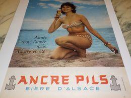 ANCIENNE PUBLICITE BIERE D ALSACE  ANCRE PILS  1958 - Alcools