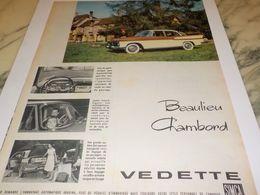 ANCIENNE   PUBLICITE VOITURE VEDETTE BEAULIEU CHAMBORD DE SIMCA 1958 - Voitures