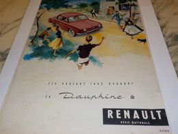 ANCIENNE PUBLICITE DAUPHINE  RENAULT 1956 - Voitures