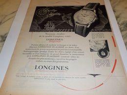 ANCIENNE PUBLICITE MONTRE LONGINES QUALITE 1958 - Bijoux & Horlogerie