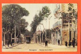 X66373 Carte Toilée PERPIGNAN (66) Avenue De La GARE 1906 à BOUTET Montrouge / Librairie CAMPISTRO Pyrénées Orientales - Perpignan