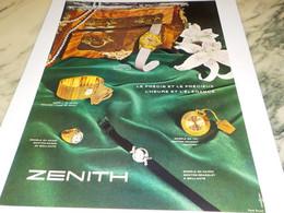 ANCIENNE PUBLICITE  MONTRE ZENITH   1958 - Bijoux & Horlogerie