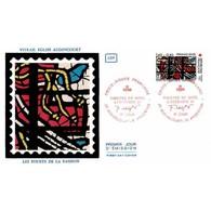 CEF Soie - Croix-Rouge 1981 (2175) - Vitraux De Fernand Léger - 5/12/1981 Audincourt/Argentan - FDC