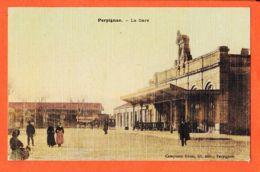 X66997 Carte Toilée PERPIGNAN (66) La GARE 1906  à BOUTET Montrouge / Librairie CAMPISTRO Pyrénées Orientales - Perpignan