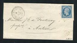 Rare Lettre De St Léger Sur D'Heune ( Saône & Loire 1858 ) Avec Un N° 14A - Cachet PC 3890 - Marcophilie (Lettres)