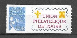 P95 Marianne De Luquet N° 3729B N++ Adhésif Personnalisé Union Philatélique De Tours - Personnalisés