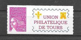 P98 Marianne De Luquet N° 3729D N++ Adhésif Personnalisé Union Philatélique De Tours - Personnalisés