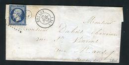 Belle Lettre De Brulon ( Sarthe 1856 ) Pour Le Mans Avec Un N° 14Aa  - Cachet PC 549 - Marcophilie (Lettres)