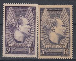 +M424. France 1937. Mermoz In Two Shades. Michel 344a+b. MH(*) - Ungebraucht
