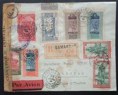 Enveloppe Recommandé Bamako SOUDAN Cachet Controle Postal Commission F > Abidjan Cote D'Ivoire Avr 1943 Bande De Censure - Guerre De 1939-45