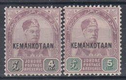 +M428. Malay / Johore 1896. Michel 19-20. MH(*) - Johore