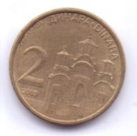 SERBIA 2009: 2 Dinara, Non-magnetic, KM 46 - Serbie