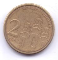 SERBIA 2008: 2 Dinara, Non-magnetic, KM 46 - Serbie