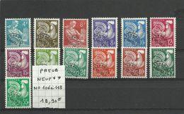 N° 106 à 118  NEUF**  1er Choix - 1953-1960