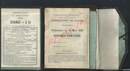 PARIS 1925 ANCIEN LIVRET DE 39 PAGES ORDENNANCES RELATIF AUX VOITURES PUBLIQUES AVEC TARIF JOUR & NUIT : - Polizei