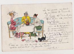 Cpa Fantaisie Humoristique  Signée T.N. ? / 3 Femmes ( Les 3 Grâces !) Prenant Le Thé. - Künstlerkarten