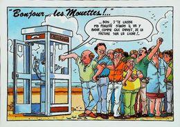 Carte Postale  Cabine Téléphonique  Bonjour Les Mouettes N° 17 - Téléphonie