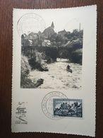 FRANCE 1952 CARTE MAXIMUM CHAMPIONNAT DU MONDE RIVIERE SPORTIVE CANOE UZERCHE - Cartes-Maximum