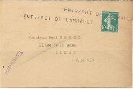 IMPRIME AVEC TIMBRE AU TYPE SEMEUSE ET CACHET LINEAIRE ENTREPOT DE LAMBALLE - Marcophilie (Lettres)