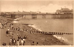 Royaume Uni  - CPA  - FOLKESTONE - Beach And Pier -  1936.  Scan Du Verso. - Folkestone