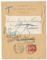 EAC 10c Semeuse/Montpellier -> Suisse,  Taxe 25, PORTO,  Réxpédiée Paris 1911 - 1877-1920: Periodo Semi Moderno