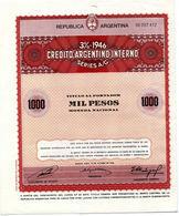 Republica Argentina: 3% CREDITO ARGENTINO INTERNO (1946) - Unclassified