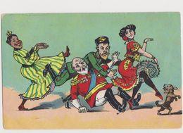 Carte Fantaisie Dessinée Satirique / Farandole : Tsar De Russie, Empereur Guillaume, 2 Femmes En Robe à Volants , Chien - Satirische