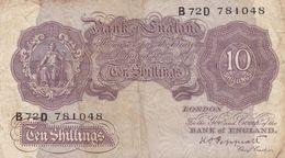 Royaume Uni  10 Shillings  Ce Billet A Circulé  Vente  En L'etat - United Kingdom