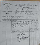 Ancienne Facture Commerce Leopold Semaire Menuiserie Scierie A Vapeur Frameries 1907 - 1900 – 1949