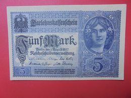 Darlehnskassenschein :5 MARK 1917 VIOLET-BLEU 8 CHIFFRES (B.15) - [ 2] 1871-1918 : Impero Tedesco