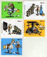 AUTOCOLLANT .  STICKER .1988 . LOT DE CINQ .SABENA . RODE KRUIS . CROIX ROUGE . .  LUCKY LUKE  & DALTONS - Stickers