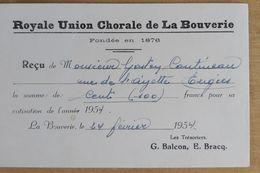 Cp Pub Royale Union Chorale La Bouverie 1954 - Mons