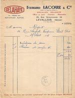 LETTRE FACTURE 1951 FERNAND LACOUR SPÉCIALISTE DELAHAYE Rue DEGUINGAND LEVALLOIS SEINE - ENJOLIVEURS De ROUE Mr RIGAUT - Cars