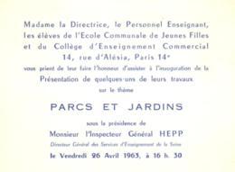 E 1043 - Invitation  Inauguration   Pour Les Travaux Des Parc Et Jardins  Rue D'Alésia à Paris 75014 - Announcements