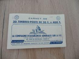 Carnet France 20 Francs Bleu Marianne De Muller Type II 20 Timbres Provins Grammont Rolla TBE - Carnets