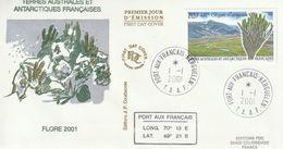 Terres Australes Et Antarctiques Françaises   2001 La Flore - FDC