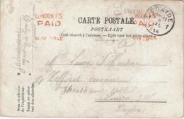 """C.P. NIEUPORT-VILLE - Rue De L'Eglise Envoyée En Franchise """"S.M."""" De COXYDE Le 9-XI.1914 à LONDON NOV-20-14 - Guerre 14-18"""