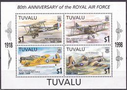 Tuvalu, 1998, 797/00,  MNH **, 80 Jahre Royal Air Force (RAF): Flugzeuge. - Tuvalu