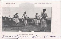 28-Libia-ex Colonia Italiana-Colonia Eritrea-Ascari D' Artiglieria-Militaria-Usi-Costumi-Bozzetti-v.1901 X Siracusa - Libye