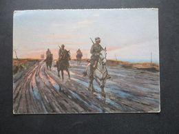 3.Reich Propagandakarte Kriegsopfer Wandkalender Bild 46 Deutsche Kavallerie Patrouille In Rußland Gemälde Schnürpel - Briefe U. Dokumente