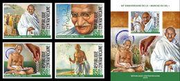 Centrafrica 2020, Gandhi, Salt March, 4val +BF IMPERFORATED - Mahatma Gandhi