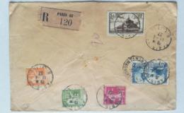 LETTRE 1937 - PAR AVION - RECOMMANDE - PARIS Via MARSEILLE Pour TANANARIVE MADAGASCAR - Marcofilie (Brieven)