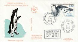 Terres Australes Et Antarctiques Françaises 1999 Manchot A Jugulaire - FDC