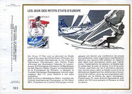 """"""" JEUX DES PETITS ETATS D'EUROPE : TENNIS / VOILE """" Sur Feuillet CEF De MONACO N° YT 1579 1580. FDC - FDC"""
