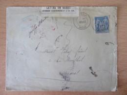 """1889 - Etiquette Rebut + CàD Rouge Rebut Sur Env. + Taxe Et Mention Manuscrite """"Griffe Illisible"""" - Cachets Au Verso - Poststempel (Briefe)"""