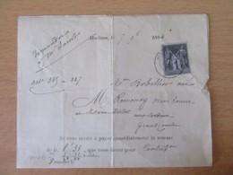 Timbre Sage 1c N°83 Seul Sur Demande De Paiement Du Percépteur De Morteau - 1884 - 1877-1920: Periodo Semi Moderno